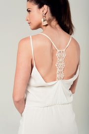 White mini dress with back crochet detail