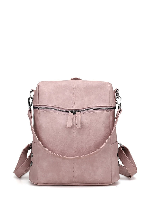 Zipper Front PU Backpack With Convertible Strap