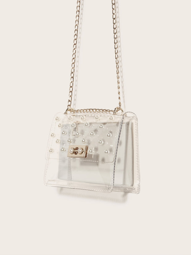 Faux Pearl Decor Clear Chain Bag