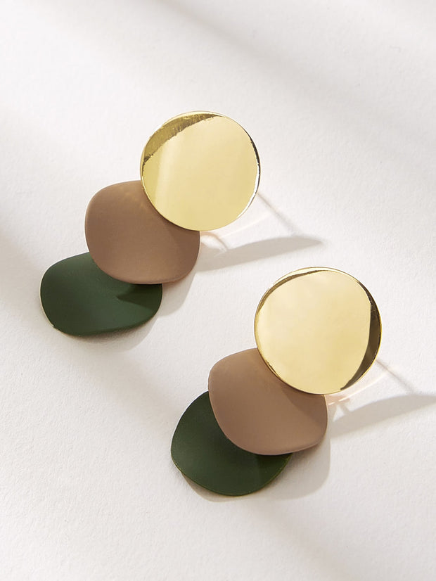 Layered Disc Drop Earrings 1pair