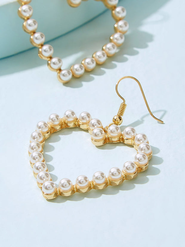 Faux Pearl Overlay Heart Drop Earrings 1pair