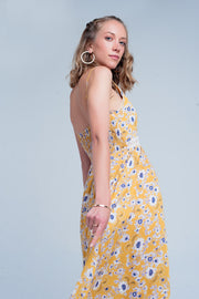 Yellow dress with flower print and crochet cut