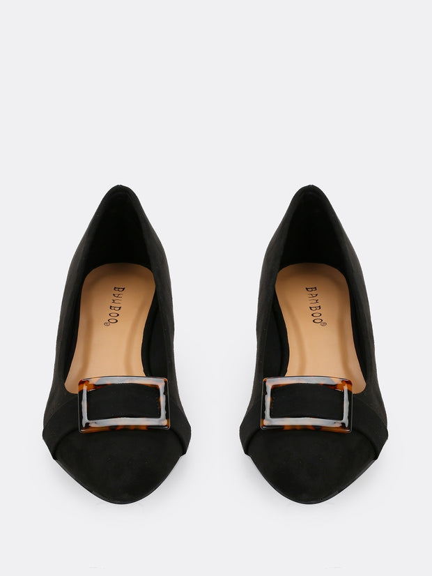 Pointy Low Chunky Buckle Heels
