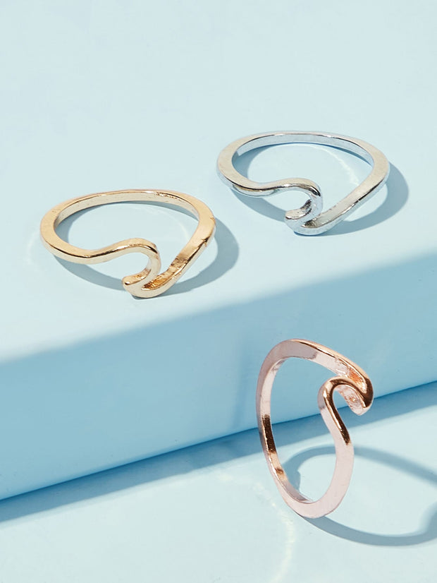 Twist Decor Ring 3pcs