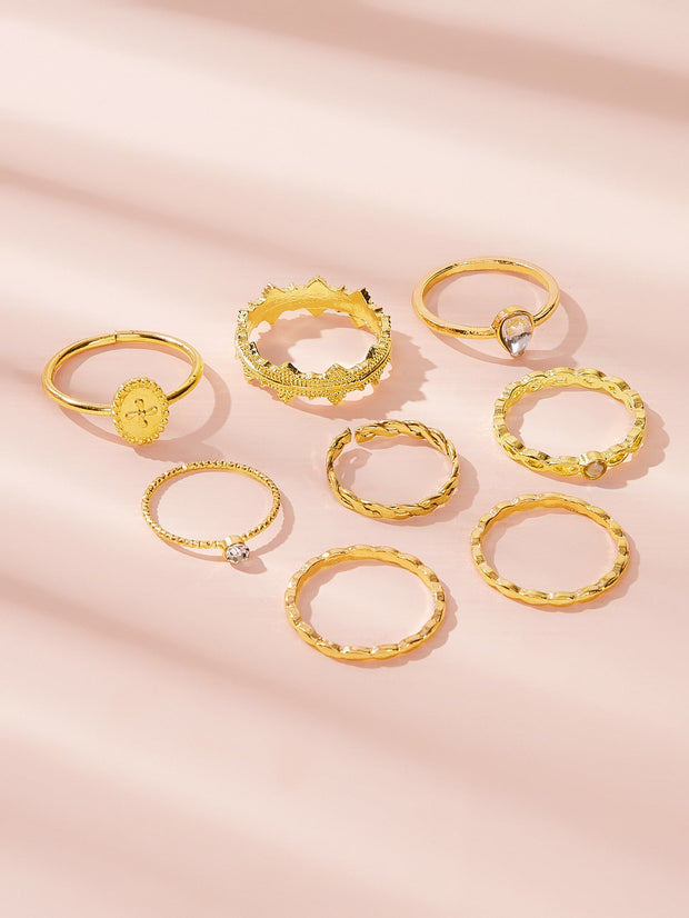 Rhinestone Engraved Criss Cross Ring 8pcs