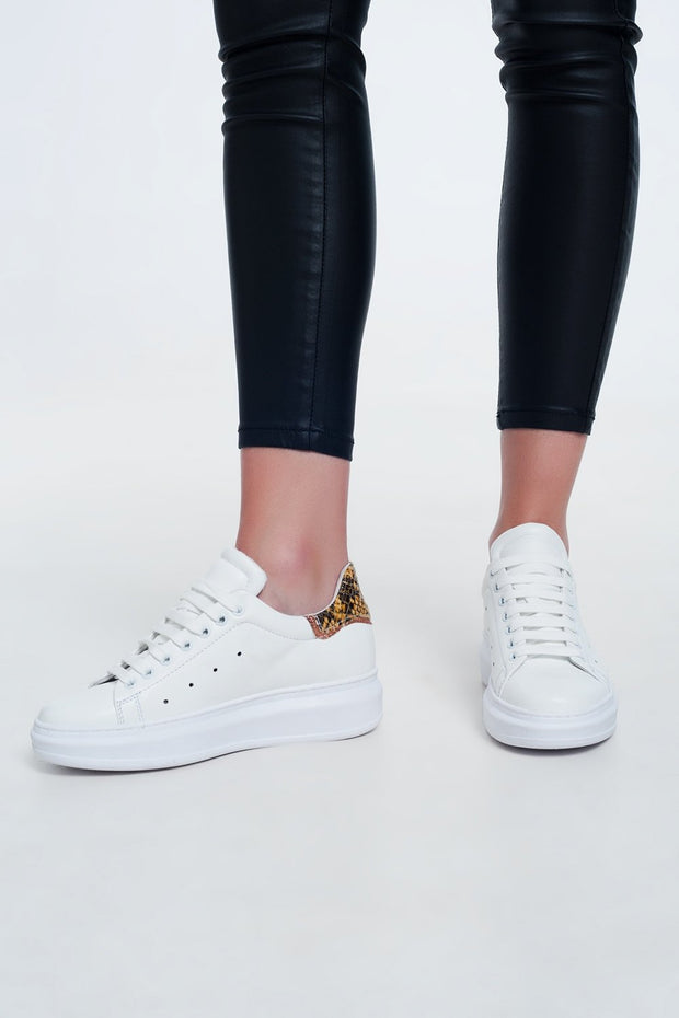 Pointed Laceup Sneakers in Yellow Snake Print