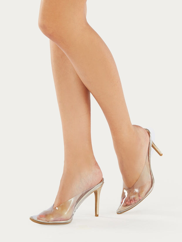 Metallic Pointed Toe  Stiletto Heels