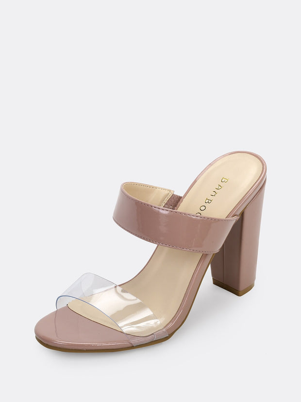 Twin Band Clear Detail Patent Chunky Heel Sandals available at very affordable prices. Enjoy free shipping and free returns on selected orders. Place your order now.