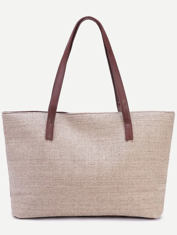 Light Khaki Zip Closure Linen Tote Bag