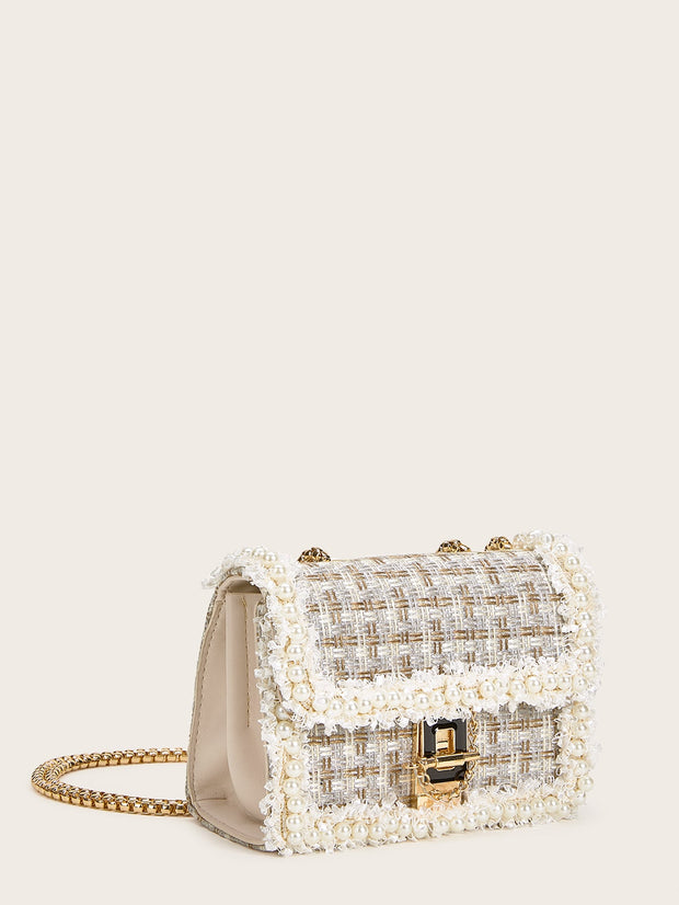 Faux Pearl Decor Tweed Chain Bag