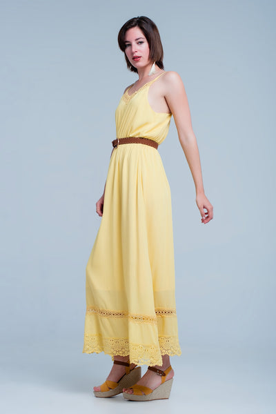 Long yellow dress with crochet trim on the V-neck and at the bottom of the dress. This dress has an underdress and it has thin straps that you can adjust. belt not included.