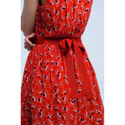 Red mini dress with print geo and bow