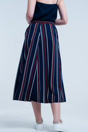 Buy Navy Blue Striped Midi Skirt