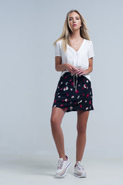 Buy Women's Black Mini Skirt with Floral Pattern