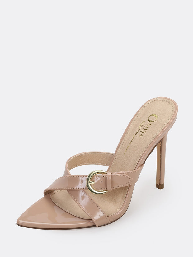 Strappy Buckled Stiletto Heel Mules