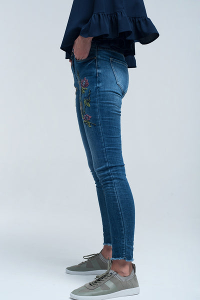 Buy Women's Blue Skinny Jean with Embroideries