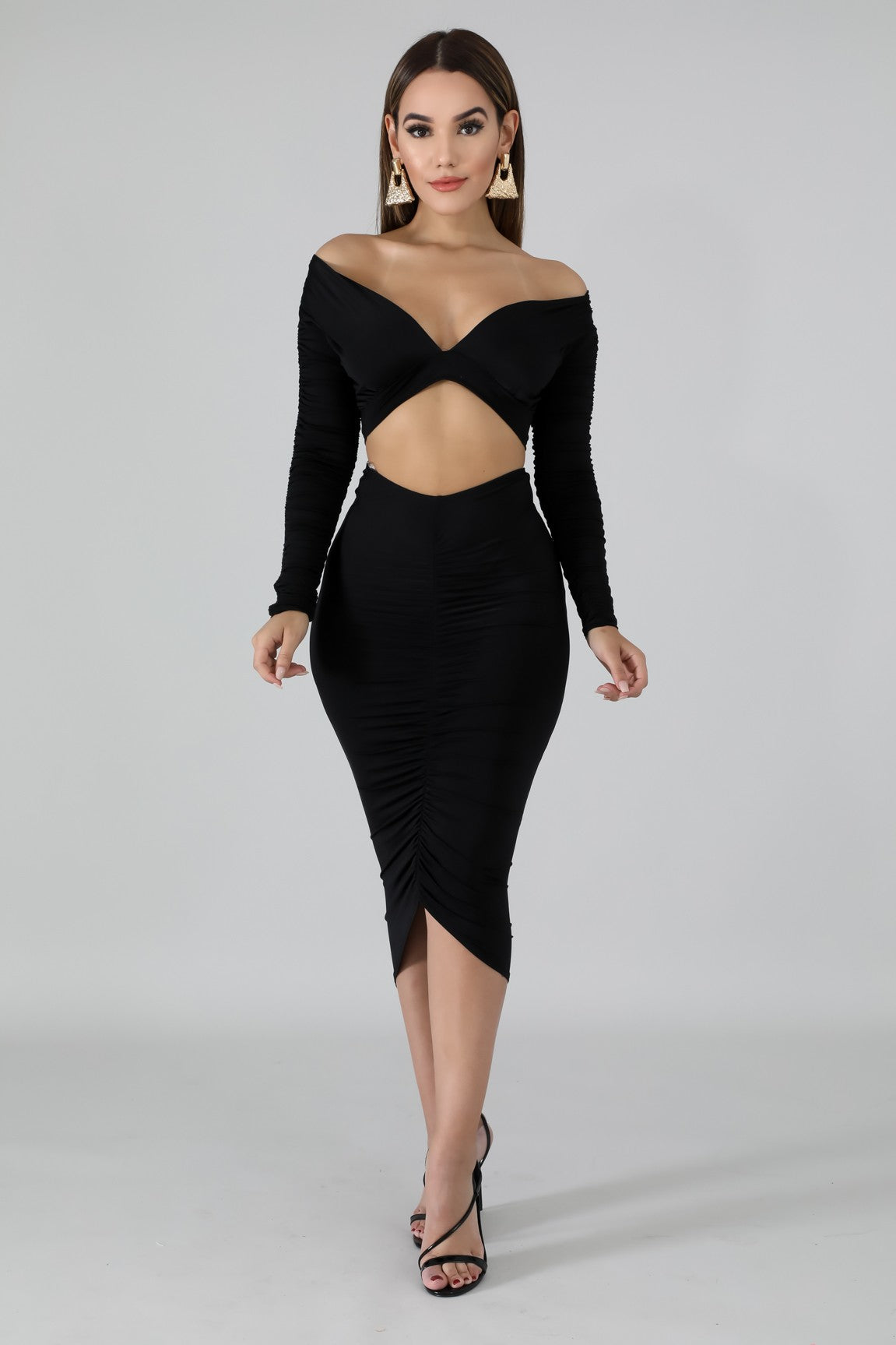Scrunched Silk Skirt Set