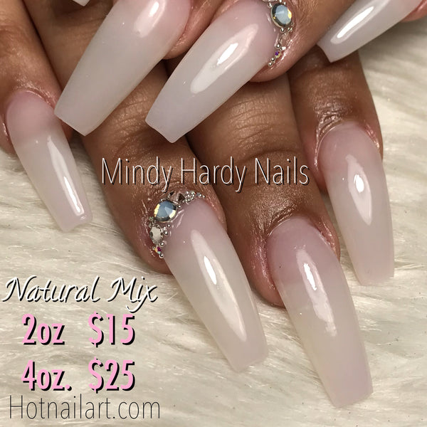 Natural Mix Acrylic Powder 4oz - HOTNAILART