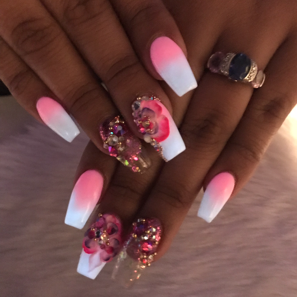 2pc Pink and White Glow Up Acrylic Powder - HOTNAILART