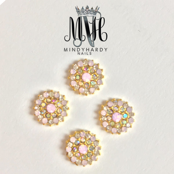 4pc Pink Opal Round Charm - HOTNAILART