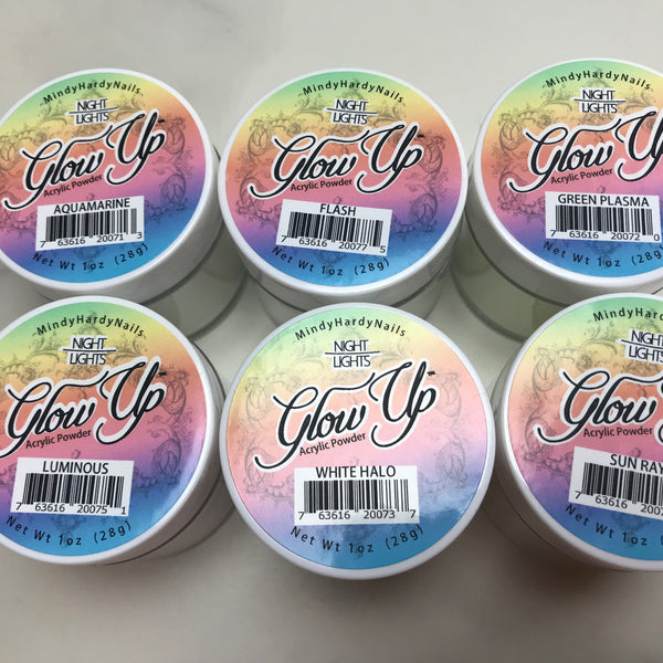 6 PC Glow Up Acrylic Powder - Night Lights Collection - HOTNAILART