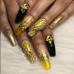 4pc Golden Bee Charms - HOTNAILART