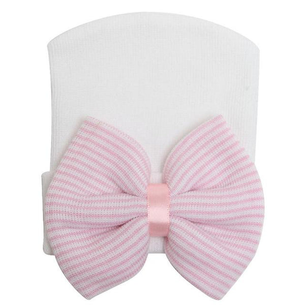 Soft Newborn Infant Baby Hospital Hat With a Pink and White Striped Bow