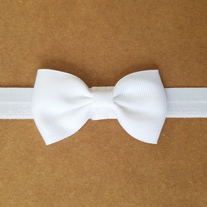 "White  2.5"" Grosgrain Hair bow Headband"