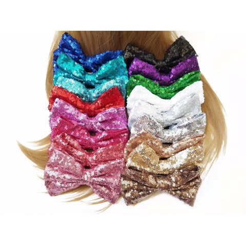 Silver 5'' Inch Large Messy Sequin Hair Bow Clips
