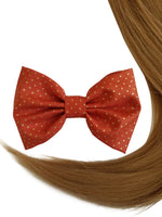 "4.6"" Orange Metallic Polka-dotted Hair Bow Clip"