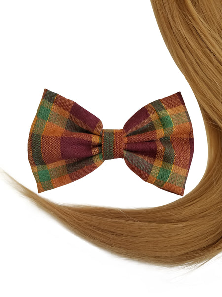 "4.8"" Plaid Fall Shades Hair Bow Clip"