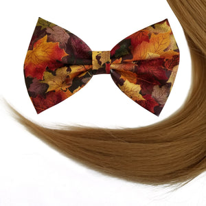 "4.5"" Fall leaves Hair Bow Clip"