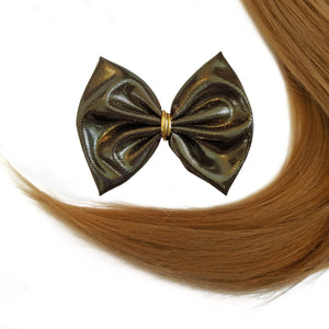 "3.5"" Black and Gold Metallic Hair bow clip"