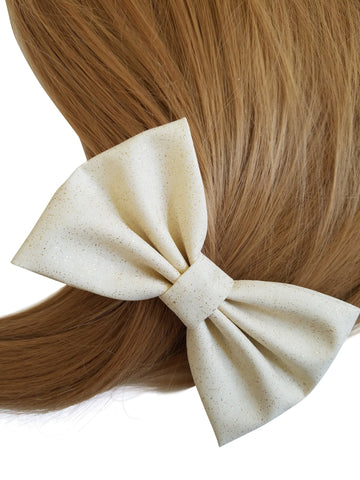"4.6"" Ivory Shimmering Hair Bow"