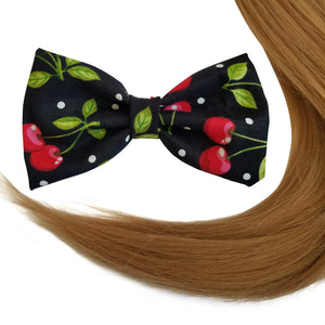 "4.7"" Cherry Print Hair Bow Clip"