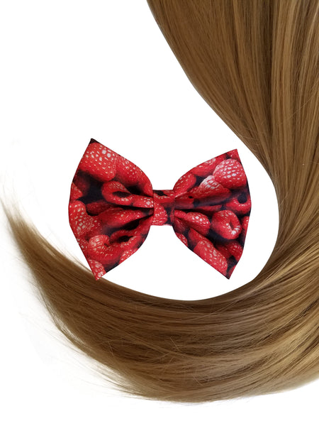 "4"" Raspberry Print Hair Bow Clip"