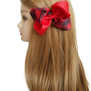 Large Plaid Grosgrain Hair Bows