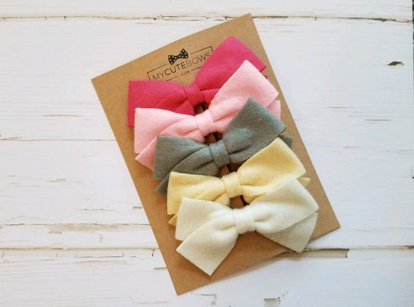 5 pack Felt Hair Bow Clips