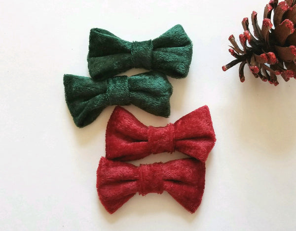 Christmas Velvet Pigtail Hair Bow Set