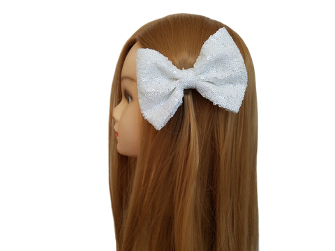 Tan  5'' Inch Large Messy Sequin Hair Bow Clips