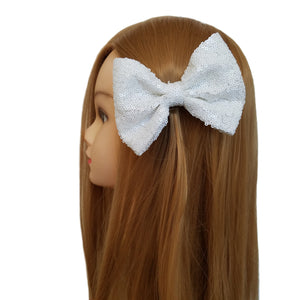 White 5'' Inch Large Messy Sequin Hair Bow Clips