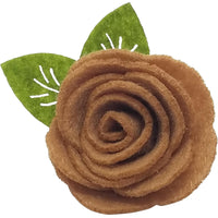 "1.5"", felt, rose, hair clip, clip,beige,tan,light brown"