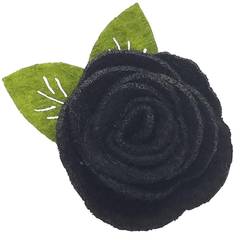 "1.5"", felt, rose, hair clip, clip, black"