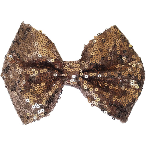 "Hair bow clip, Sequin, 5"", Brown"