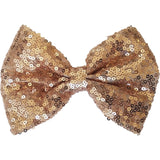 "Hair bow clip, Sequin, 5"", champagne"