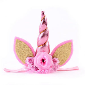 Magical Pink Unicorn Horn Flower Headband