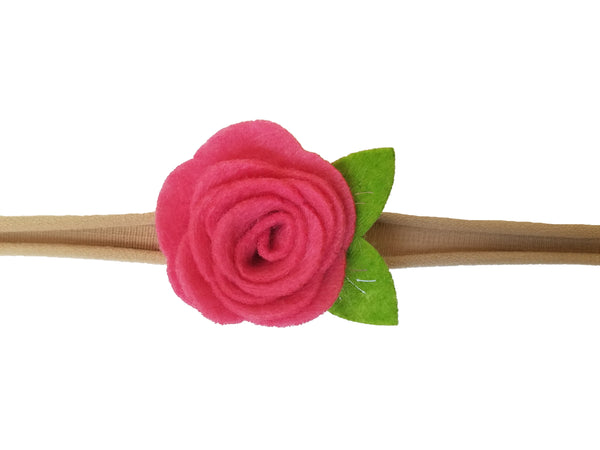 "1.5"" Fuchsia Felt flower Rose Headband"