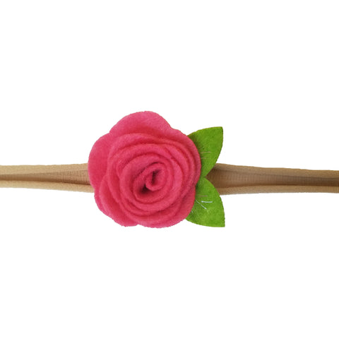 "1.5"", rose, headband, felt, nylon, hot pink, fuchsia"
