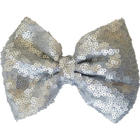"Hair bow clip, Sequin, 5"", grey, gray"