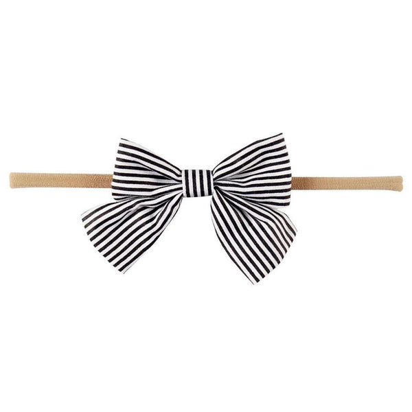 "Striped 3.5"" Hair Bow Clip OR Headband"